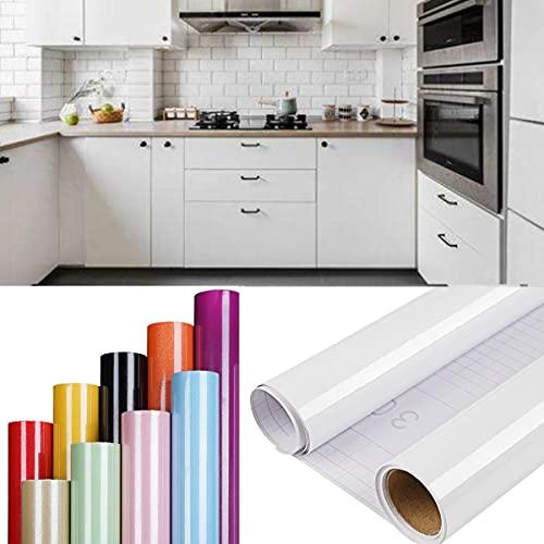 DTC GmbH 2 Rolles klebefolie möbel möbelfolie selbstklebend, möbelfolie matt folie selbstklebend, klebefolie selbstklebende möbelfolie für Möbel Küche Schrank Tische Wand Weiß