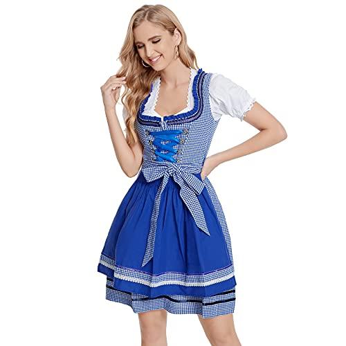 Adisputent Damen Dirndl Kurz 3TLG. Dirndlkleid Midikleider Bayerische Traiditionelle Trachtenkelid für Oktorberfest Karneval Cosplay Kostüm für Frauen Mädchen(a-Blau,S/34)