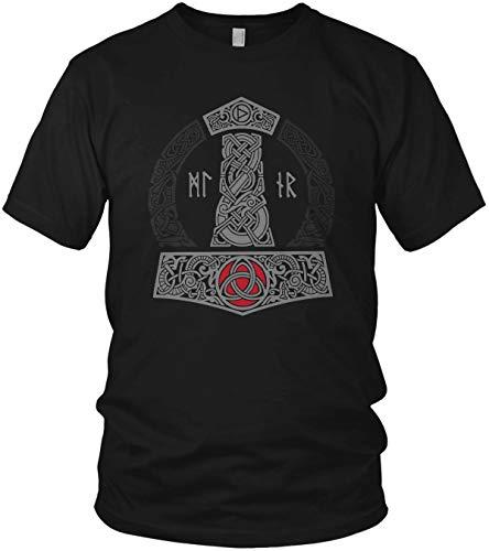 North - The Thor Mjölnir Wikinger Hammer Runen Wikinger Valhalla Walhalla Vikings - Herren T-Shirt und Männer Tshirt, Größe:XL, Farbe:Schwarz Premium Rot