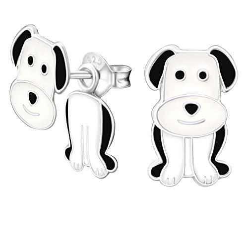 Monkimau Orecchini a forma di cane per bambina con doppio perno in argento sterling 925