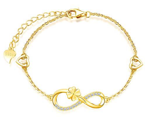 Beforya Paris PIN/75 - Pulsera ajustable con diseño de trébol, símbolo del infinito, plata de ley 925 chapada en oro de 24 quilates, con caja de regalo