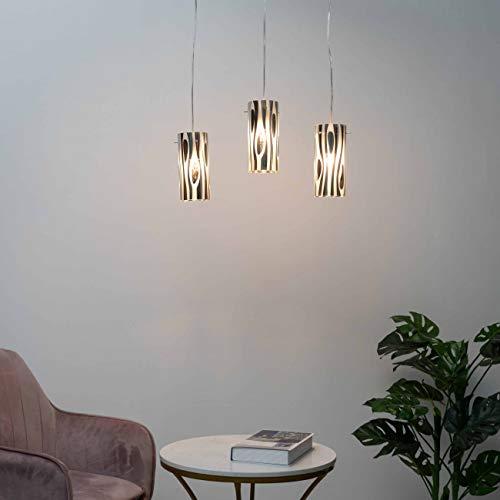 KOSILUM - Suspension multiple triple design tube verre Ophyse - Lumière Blanc Chaud Eclairage Salon Chambre Cuisine Couloir - 3 x 40W - - E27 - IP20