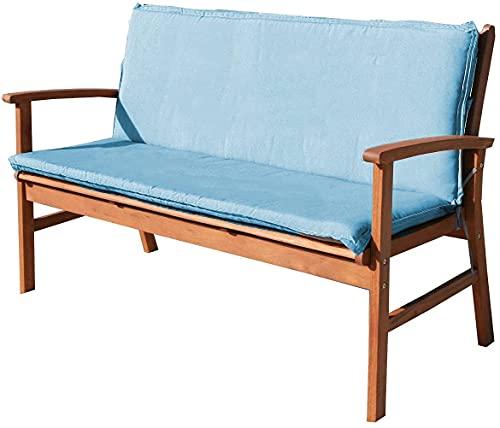 Cuscino per Panca Cuscino per Schienale Sedia da Giardino Cuscino per Sedile Resistente all'Acqua Cuscino per Sedia Altalena a 2-3 posti per mobili da Esterno Reclinabili Blu 120x100cm