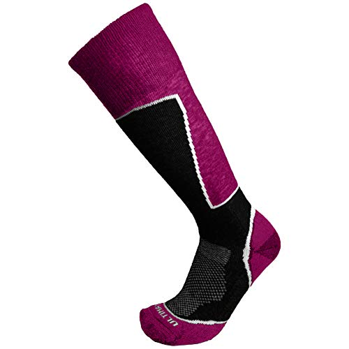 Ultimate Socks Womens Midweight Merino Wool Ski Snowboard Warm Socks Raspberry Medium 7-9.5