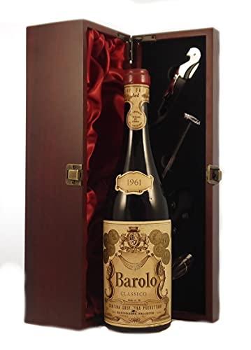 Barolo Classico 1961 Falletto en una caja de regalo forrada de seda con cuatro accesorios de vino, 1 x 750ml