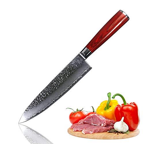 Kitchen Chef Knife 8 Inch Sashimi Damascus Japanese VG10 Damascus Steel - Hammered Finish - Redwood Handle - Not-stick Knife
