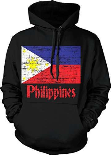NOFO Clothing Co Flag of The Philippines, Filipino Flag Hooded Sweatshirt, M Black