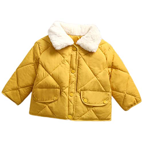 Kids Girls Winter Solid Color Fleece Lapel Warm Jacket Coat Pockets Buttons Closure 1-4 Years