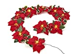 HOMESEASONS Pre-Lit Velvet Artificial Poinsettia 6 feet Garland with Red Berries and Holly Leaves - 3AA Battery Operated Indoor and Outdoor Use (1 Pack, Red)