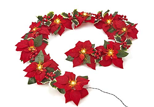 HOMESEASONS Pre-Lit Velvet Silk Poinsettia 6 feet Garland with Red Berries and Holly Leaves - 3AA Battery Operated with Timer Indoor and Outdoor Use (1 Pack, Red)