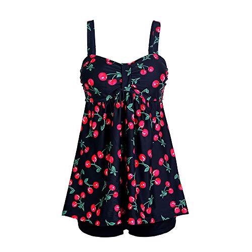 GOWE Tankini Für Frauen - Mode Retro Floral Gepolsterte Große Größe Strandkleidung Mit Shorts Zweiteilige Badeanzug Bademode, Kirsche, 3XL