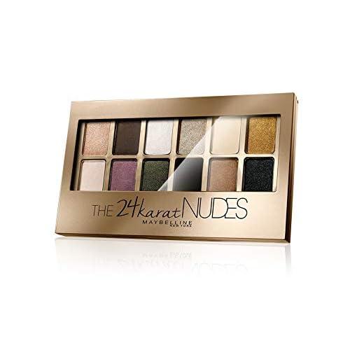 Maybelline New York The 24 Karat Nudes Palette Ombretti, 12 Colori Sulle Sfumature dell'Oro, Finish Mat, Satinato e Perlato