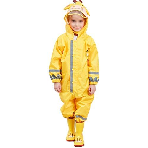 Majing Regenbekleidung- Einteiliger Atmungsaktiver Poncho Mit Kapuze Für Kinder, Jungen Und Mädchen Kindergarten 3-10 Jahre Regenmantel 100% Wasserdicht (Farbe: Gelb) (Size : S)