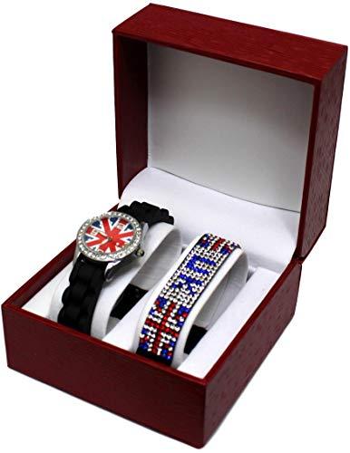 Kit Reloj Niños Adolescente niña London Londres + pulsera bandera Inglés UK brillantes