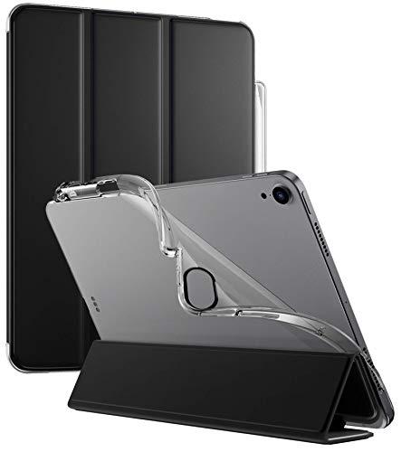 Poetic Lumos X Serie Hülle für iPad Air 4 2020 10,9 Zoll, Smart Cover mit Apple Pencil Halter, Flexible Soft Clear TPU Rückseite Slim Fit Trifold Stand Folio Front für iPad Air 4th Generation, Schwarz