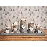 Teelichthalter-Set auf Holz-Tablett Weihnachten Tischdekoration Weihnachtsdekoration innen Tischdeko Landhausstil Wohnzimmer-Tisch (Nr.1)
