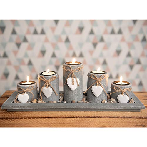 Tea light holder set on a wooden tray, Christmas table decoration for indoor use, in a country style, No. 1