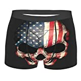 Calzoncillos tipo bóxer con diseño de calavera de la bandera americana para hombre, suaves, transpirables, elásticos, ropa interior