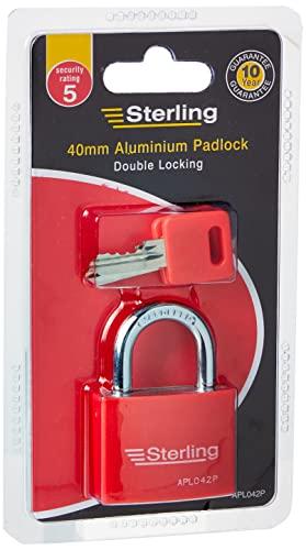 Sterling APL042P 40mm Aluminium Double Locking Padlock, Red Or Blu