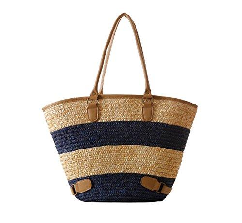 FAIRYSAN Hoge Kwaliteit Sterk Gestreept Winkelen/Strand Mand, Handgeweven Eenvoud & Stijlvolle Schouder Rieten Tas (blauw)