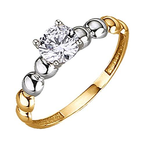 Jacques Lemans Damen Ring 375/- Gelbgold mit Zirkonia weiß 375/- Gold Glänzend Zirkonia gelb 490370021