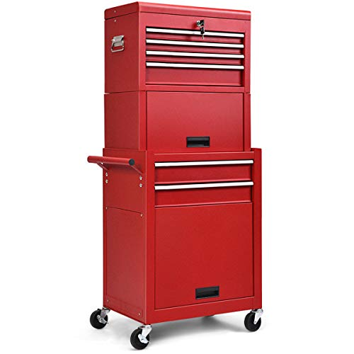 Safstar 6-Drawer Rolling Tool Chest, High Capacity Tool Storage Cabinet with Wheels and Locking System, Removable Toolbox Organizer with Sliding Drawers (Red)