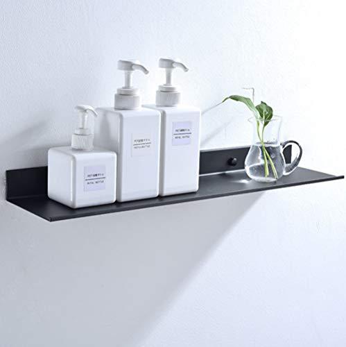 An der Wand montiert Schwimmend Metall Regalleiste, Schwarz Bad Regal Wandhalterung Regale Platzsparend Rostfrei Extra Stark Schwimmende Regale Lagerregal(60cm)