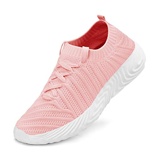 QANSI Womens Fashion Sneakers Slip on Shoes Lace up Sneakers Pink 6