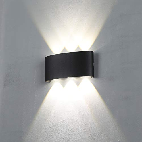 Charoom Außenleuchte LED Aussenlampe Wand,18W Up Down Außenlampe, Aluminium Außenbeleuchtung IP44 Spritzwasserschutz Gartenlampe draussen/innen (Schwarz,4000K)