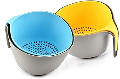 2-in-1 Grote Keuken Strainer en Bowl Set Spoelbakken Wassen Vergiet Plastic Filter Pan Pot Foods Strainer met Handvat voor Groenten Fruit Rijstkorrels Wassen en Afvoeren (Blauw)