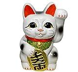 常滑焼 招き猫 4号 白小判猫(左手) 梅月窯