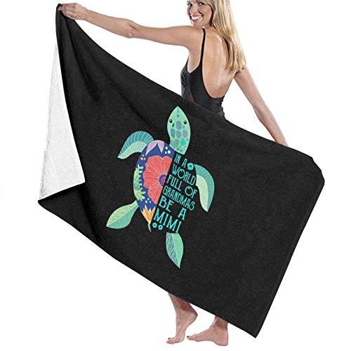 637 Bath Sheet Tortuga Floral En Un Mundo Lleno De Abuelas Be A Mimi 80X130Cm Microfibra Toallas De Baño Navideñas De Secado Rápido Toalla De Playa Liviana Y Altamente Absorbente para