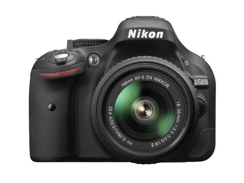 Nikon D5200 SLR-Digitalkamera (24,1 Megapixel, 7,6 cm (3 Zoll) TFT-Display, Full HD, HDMI) Kit inkl. AF-S DX 18-55 VR II Objektiv schwarz