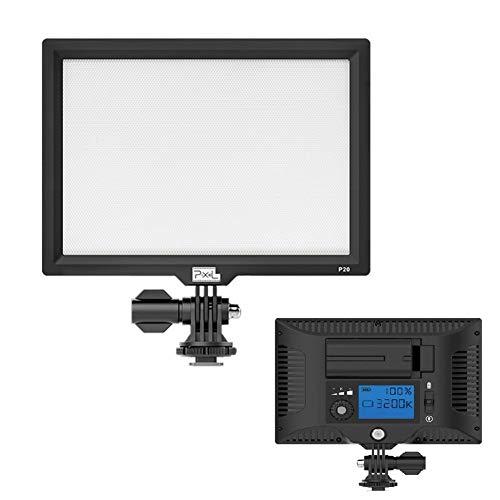 Pixel P20 - Panel de luz LED de vídeo ultra brillante regulable para cámaras Canon, Nikon, Pentax, Panasonic, Sony, Samsung, Olympus y otras cámaras réflex digitales/videocámaras