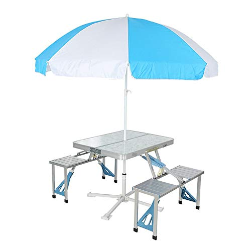 WGXYQ Folding Camping Table Portable Folding Table Table And Four Chairs With Umbrella Suitcase Size Light Aluminum Alloy 85x67x66cm Camping Table (Color : Gris)