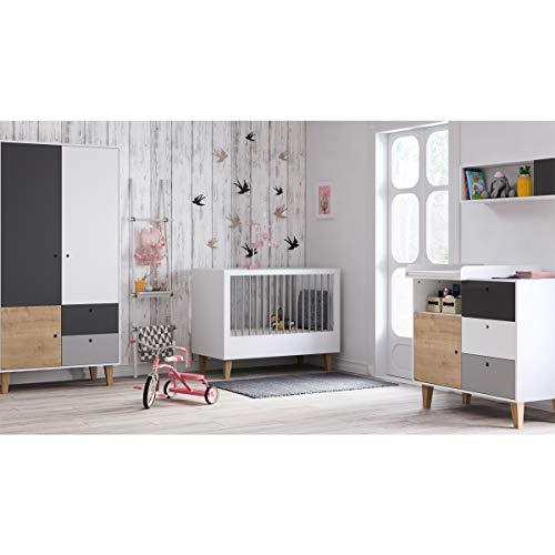 Chambre complète lit évolutif 70x140 - commode à langer - armoire 2 portes Concept - Bois