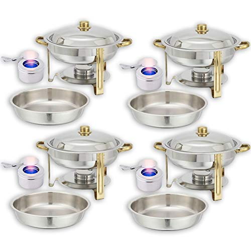 Round Chafing Dish Buffet Set  Water Pan + Food Pan (4 qt) + Frame + Fuel Holders - Stainless-Steel Warmer Kit 4 Pack