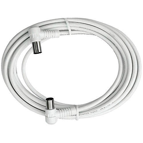 Axing BAK 503-00 Anschlusskabel IEC, Koax-Winkelstecker mit Koax-Kupplung, hochgeschirmt (5 m) weiß