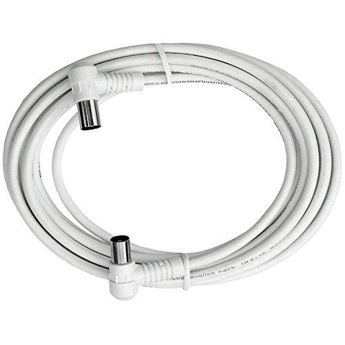 Axing BAK 993-00 Anschlusskabel IEC, Koax-Winkelstecker mit Koax-Kupplung, hochgeschirmt (10 m) weiß