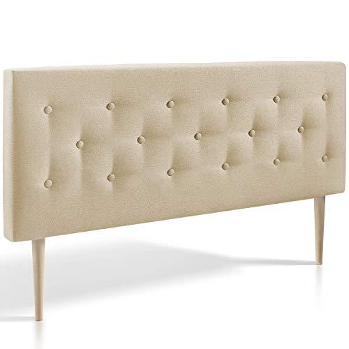marcKonfort Tête de lit Oslo 140X100 cm, capitonnée Tissu Beige grillé, Épaisseur Totale de 8 cm