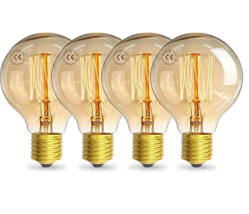 AcornSolution Vintage Birne, Vintage Edison Glühbirne Exposed Filament G80 Teardrop Eichhörnchen Käfig Stil Medium Base -DIMMABLE (25W-E27-G80, Vintage Edison -4 Pack)