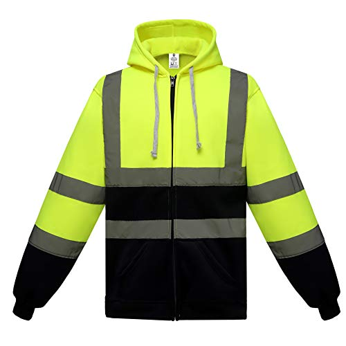 Brite Safety High Visibility Zip Hoodie - ANSI Class 3 Compliant Hi Vis Work Safety Jackets For Men and Women (Yellow, 6XL)