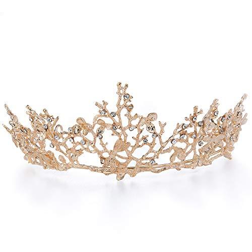 Czemo Couronne de Mariage Or Rose Diadème de Strass pour Femme, Tiare Baroque, Bijoux de Cheveux Mariée pour Mariage, Pageants, Princesse Parties