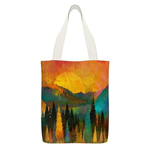Einkaufstasche aus Segeltuch, Bäume, Berge, Sonnenaufgang, Warm, Rot, Gelb, Weiß, 12 Stück