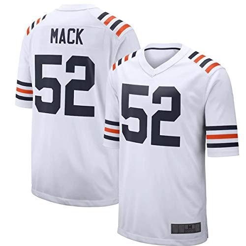 ERERT Camisetas de fútbol americano de los hombres Chicago Mack # 52 Blanco, Khalil Osos Juego Jersey Transpirable Personalizado Casual Camisetas Para Hombres