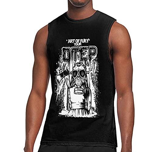 Lsjuee OTEP Hombres 's Algodón Moda Deportes Casual Cuello Redondo Sin Mangas Camiseta Chaleco Camiseta sin Mangas
