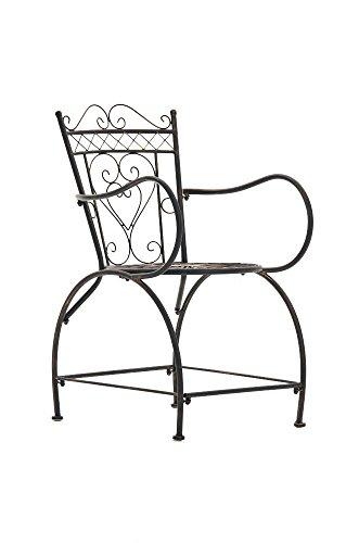 Chaise de Jardin en Fer Forgé Sheela - Design Romantique avec Dossier Accoudoirs et Repose-Pieds - Chaise de Terrasse en Fer avec de Belles, Couleurs:Marron Clair