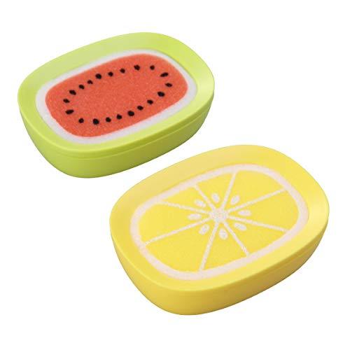TOPBATHY Juego de 2 jaboneras con diseño de frutas, para baño de espuma, jabonera, juego para ducha