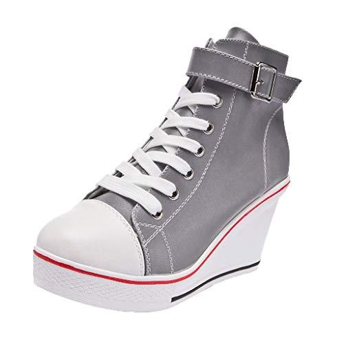 Vrouw Wedges schoenen hoge pumps casual Illuminate schoenen vrijetijdsschoenen platform schoen ritssluiting willekeurige hoge schoenen dikke onderste stropdas zijdelingse hoge zeildoekschoenen