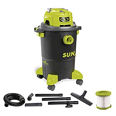 Sun Joe SWD5000 5-Gallon 1200-Watt 7 Peak HP Wet/Dry Shop Vacuum, HEPA Filtration, Wheeled w/Cleaning Attachments, for Home, Workshops, Pet Hair and Auto Use, 5 Gal, Black/Green
